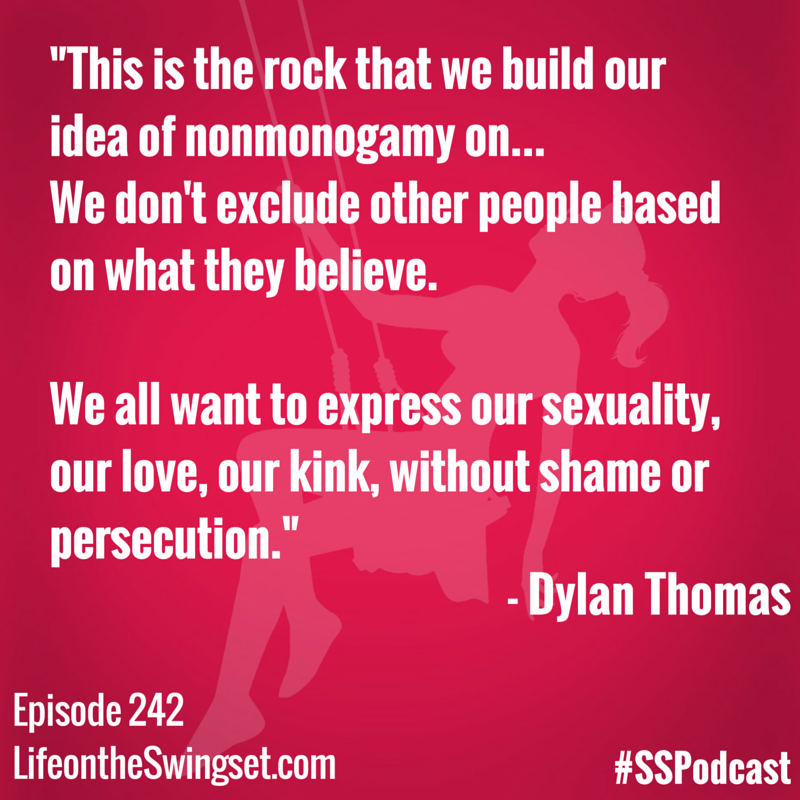 This is the work that we build our idea of nonmonogamy on... we don't exclude other people based on what they believe. We all want to express our sexuality, our love, our kink, without shame or persecution.